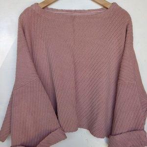 Free People Pink Chunky Crop Sweater